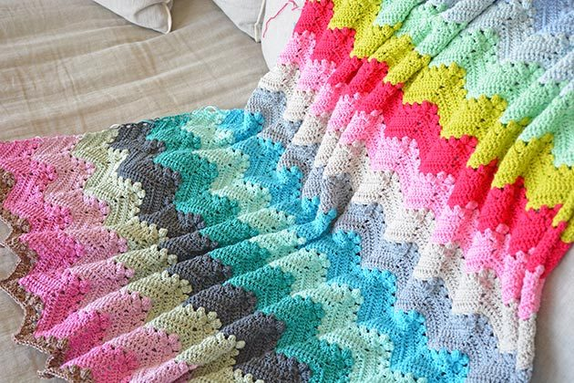 Granny Chevron Ripple Blanket A Week Of Crochet Crochetobjet