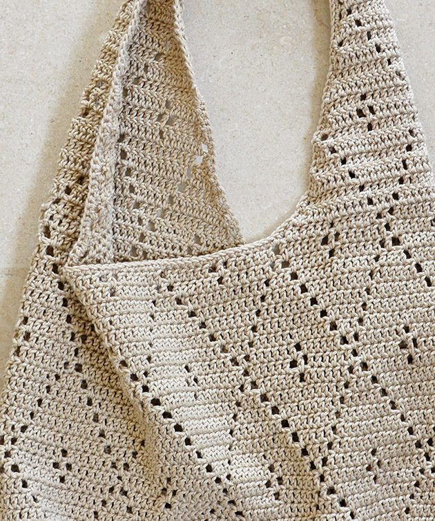 Diamond Pattern Cotton Tote Crochetobjet