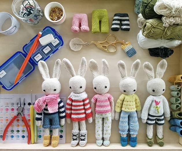 Crochet pattern bunny family