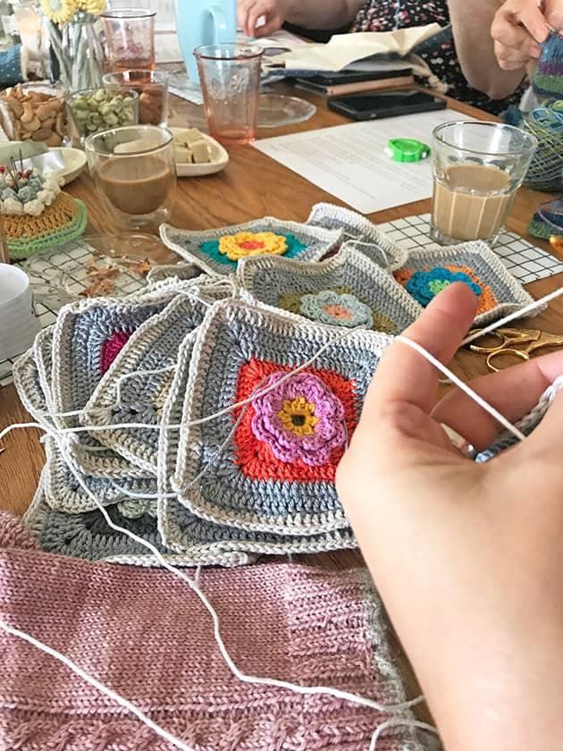 flower crochet squares garden