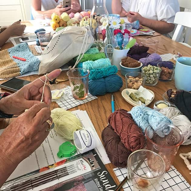crochet workshop table