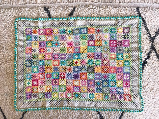 Bloom Crochet Blanket squares - colour layout - CrochetObjet