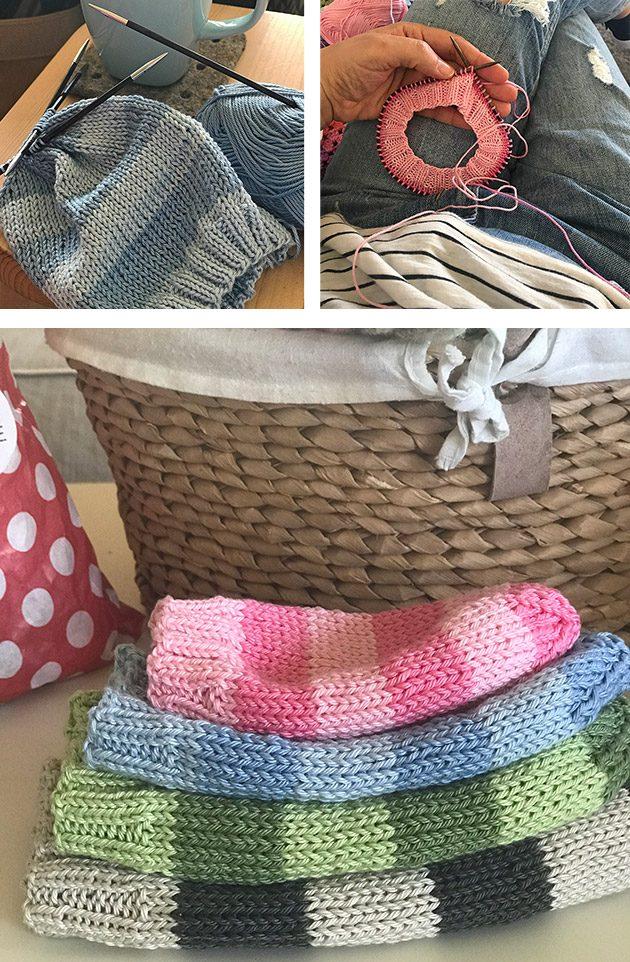 Cotton stripe hat knitting pattern
