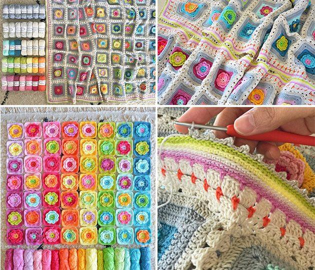 Cotton Crochet Blanket spring sale