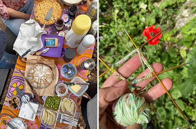 spring knitting picnic